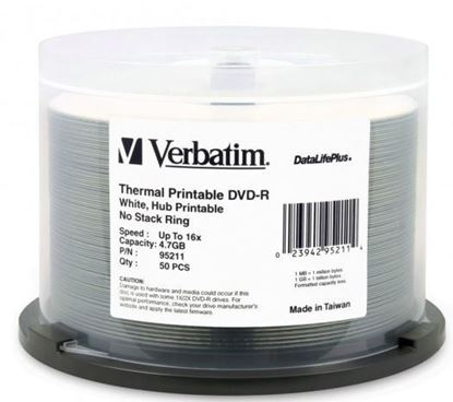 Picture of Verbatim DVD-R 4.7GB 16x White Wide Thermal Printable 50 Pack on Spindle