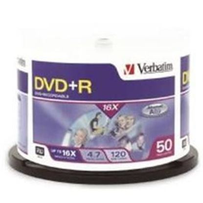 Picture of Verbatim DVD+R 50Pk Spindle 4.7GB 1X-16x Spindle